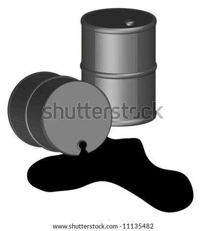 oil spilling out of one black oil barrel 3D - vector - stock vector