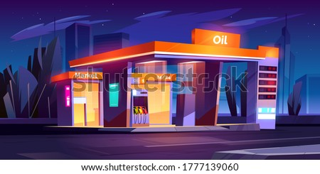 Oil station at night. Noctidial cars refueling service. All day petrol shop and market buildings, price display and pump hoses, fuel selling for urban vehicles, gas refill, Cartoon vector illustration