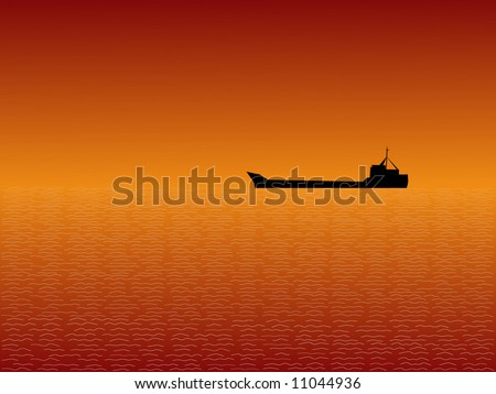 Oil tanker at Sunset with beautiful sky illustration