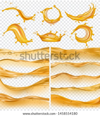 Oil waves. Realistic golden liquid surface of oil petrol flow drops and splashes fuel vector collection. Olive oil and fuel golden color flow illustration