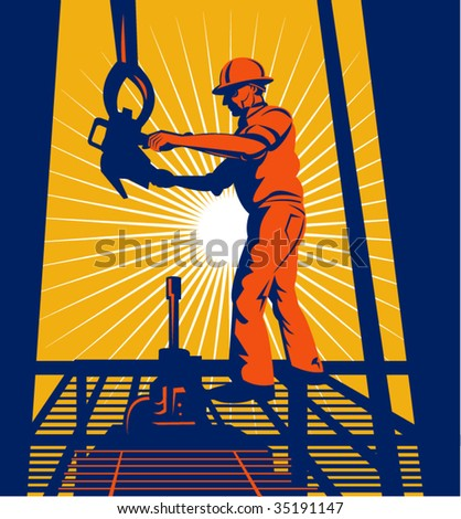 Oil worker at worker on an oil well with sunburst in the background