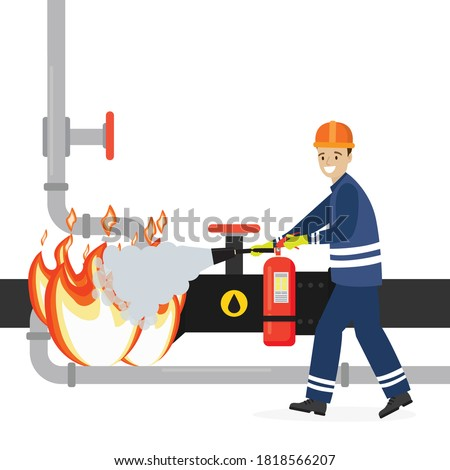 Oilman worker uses fire extinguisher to extinguish fire on pipeline. Industrial infrastructure isolated on white background. Oil refinery accident. Worker prevents explosion. Flat vector illustration Foto stock ©