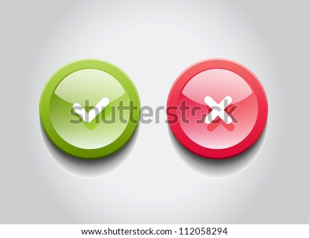 OK and Cancel vector round glossy web buttons