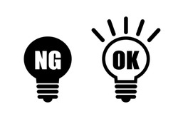 OK and NG. vector illustration. Icon material. Affirmative and negative, Good and No Good. illustration expressing an opinion.