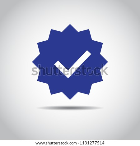 OK Button Icon. Blue icon of accept sign. Shadow and isolated on white. EPS10