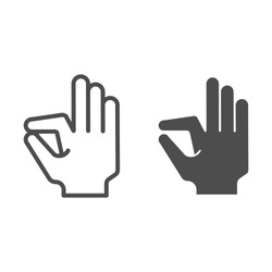 Ok gesture line and glyph icon. Goog hand gesture vector illustration isolated on white. Yes symbol outline style design, designed for web and app. Eps 10