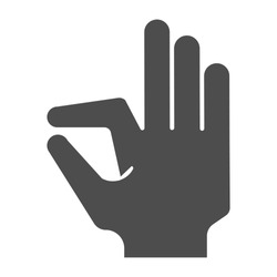 Ok gesture solid icon. Goog hand gesture vector illustration isolated on white. Yes symbol glyph style design, designed for web and app. Eps 10