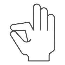Ok gesture thin line icon. Goog hand gesture vector illustration isolated on white. Yes symbol outline style design, designed for web and app. Eps 10
