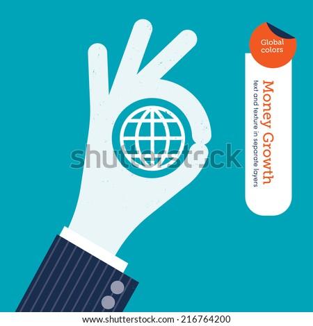 ok hand with planet symbol