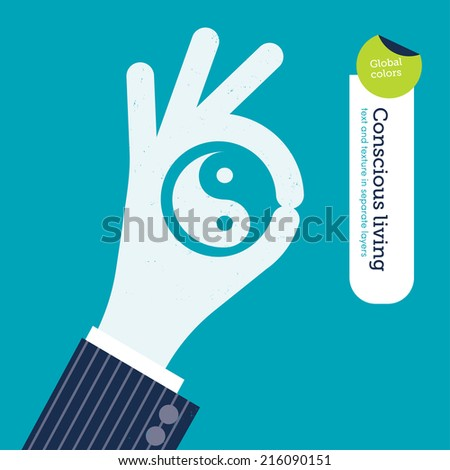 ok hand with yin yang symbol