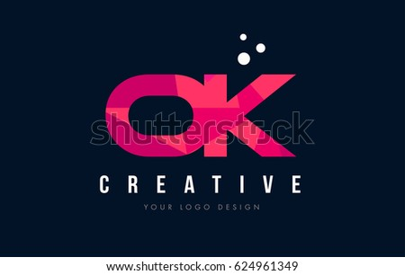 OK O K Purple Letter Logo Design with Low Poly Pink Triangles Concept