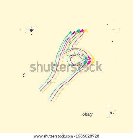 OK or excellence gesture. Stereoscopic vector hand showing okay or excellent. Background with 3D stereo effect. Glitch illustration with body language for poster or print design