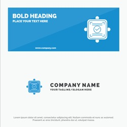 Ok, Report, Card, Agreement SOlid Icon Website Banner and Business Logo Template