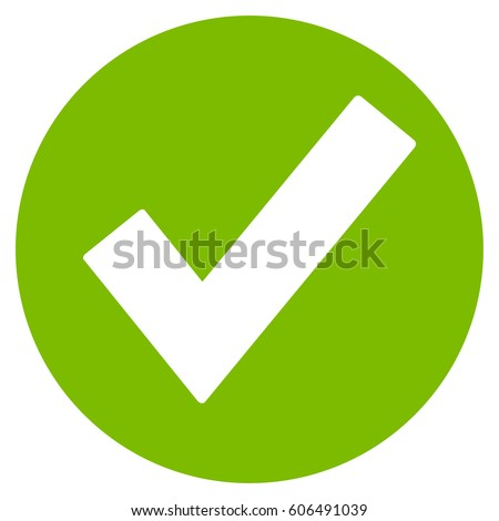 Ok vector icon. Flat eco green symbol. Pictogram is isolated on a white background. Designed for web and software interfaces.