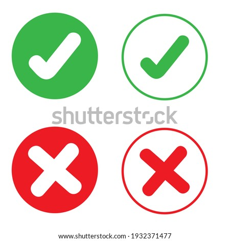 Ok vector icon set. Check mark illustration sign collection. Yes and no symbol. Foto stock ©