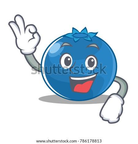 Okay blueberry character cartoon style