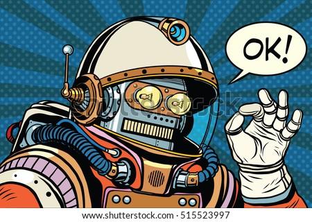 okay retro robot astronaut