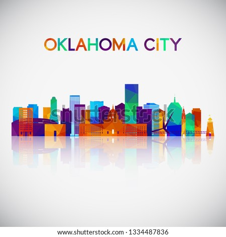 Oklahoma City skyline silhouette in colorful geometric style. Symbol for your design. Vector illustration.