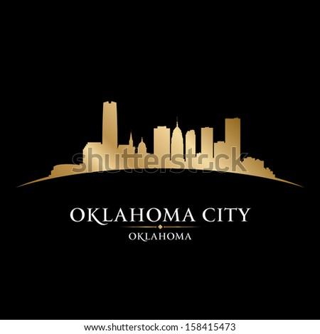 Oklahoma city skyline silhouette. Vector illustration