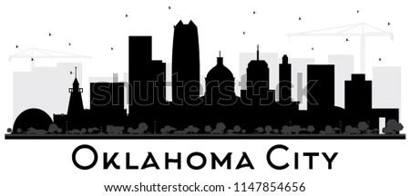 Oklahoma City Skyline Silhouette with Black Buildings Isolated on White. Vector Illustration. Business Travel and Tourism Concept with Modern Architecture. Oklahoma City Cityscape with Landmarks.