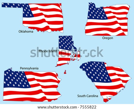 Oklahoma, Oregon, Rhode Island, Pennsylvania, and South Carolina outlines with flags, each individually grouped