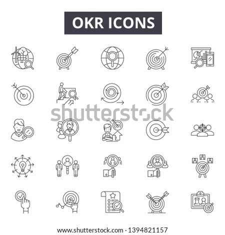 Okr line icon signs.  Linear vector outline illustration set concept.