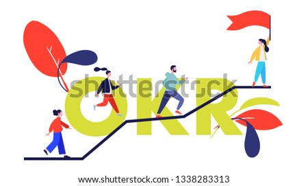 OKRs (Objectives and key results) word  vector illustration with people.