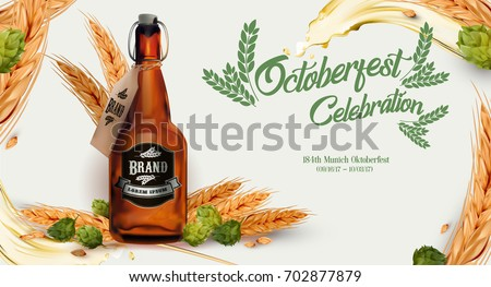 Oktoberfest ada, Craft beer contained in glass bottle, with hops and golden ripe wheat ad, Beer splash; 3d illustration.