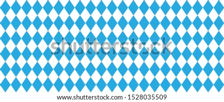 Oktoberfest background with blue square checked Argyle, bavarian, rhombic pattern Flanel clothes Check print plaid clothing Vector seamless geometric shape Happy party Diamonds icons bavarian fabric
