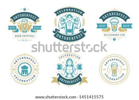 Oktoberfest badges and labels set vintage typographic design templates vector illustration. Willkommen zum invitations beer festival celebration decoration objects and symbols.