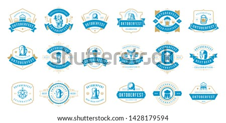 Oktoberfest badges and labels set vintage typographic design vector templates. Willkommen zum invitations beer festival celebration good for flyers an promotion banners.