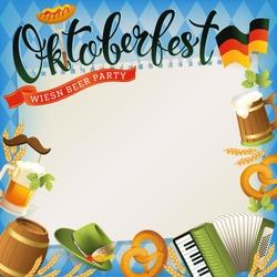 Oktoberfest banner with hat, accordion, sausage, pretzel, hops, flag and mug of beer. Vector illustration.