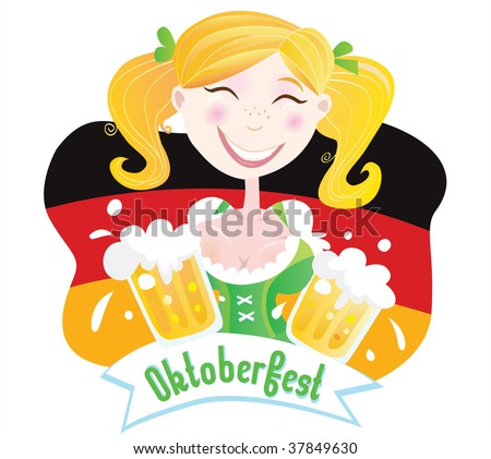Oktoberfest (Bavarian female). Oktoberfest girl in traditional bavarian clothing on german flag with beer. Vector Illustration.