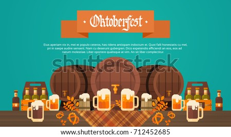 Oktoberfest Beer Festival Banner Wooden Barrel With Glass Mugs Holiday Decoration Poster Flat Vector Illustration