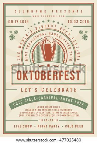 Oktoberfest beer festival celebration poster or flyer template retro typography. Vector illustration.