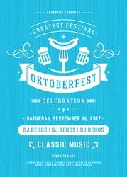 Oktoberfest beer festival celebration retro typography poster or flyer vector template.