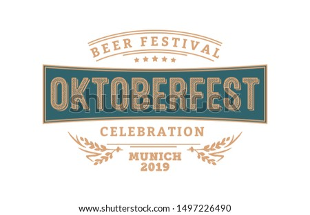 Oktoberfest beer festival. Header for greeting cards, poster invitation and beer coaster. The beer festival celebrated in October in Germany. Folk festivities in Bavaria.