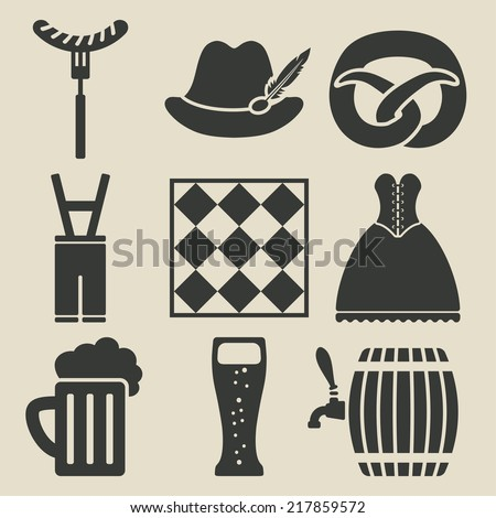 Oktoberfest beer festival icons set - vector illustration. eps 8