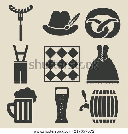 Oktoberfest beer festival icons set - vector illustration. eps 8