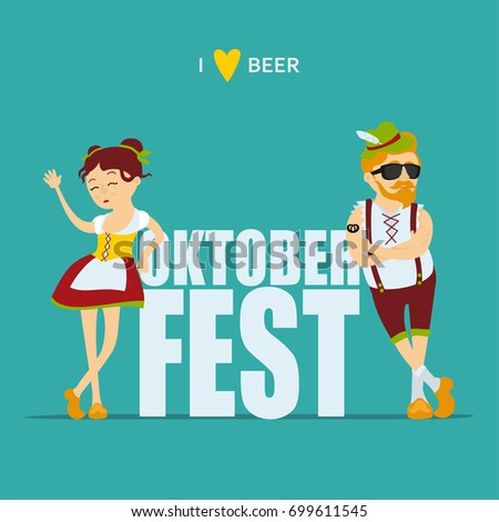 Oktoberfest beer festival. Man and woman in traditional bavarian costume. Inscription i like beer, inscription Oktoberfest. Vector illustration