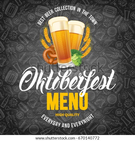 Oktoberfest beer festival menu template with different objects related with beer. Chalkboard design with hand drawn doodle pattern. Vector illustration.
