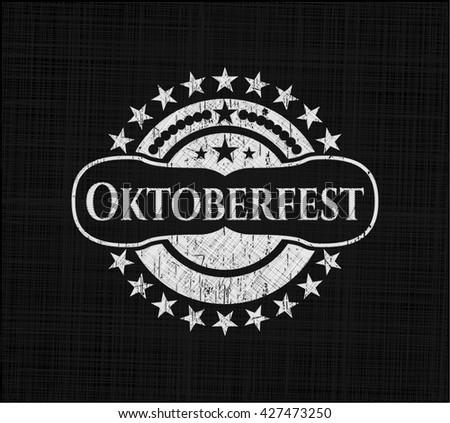 Oktoberfest chalk emblem, retro style, chalk or chalkboard texture