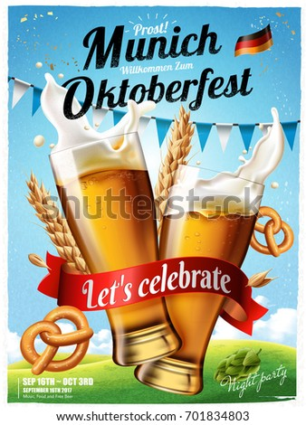 Oktoberfest festival poster, splashing beer with pretzel and wheats isolated on blue sky in 3d illustration, Oktoberfest means Beer festival in German Zdjęcia stock ©