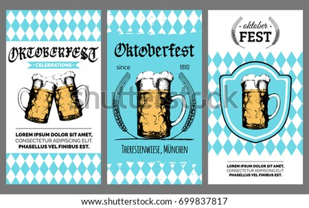 Oktoberfest flyer. Vector beer festival poster. Brewery label or badge with vintage hand sketched glass mug.  Photo stock ©