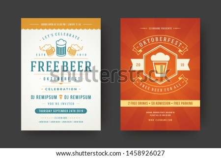 Oktoberfest flyers or posters retro typography emplates willkommen zum invitations beer festival celebration vector illustration. Beer mug symbol and decoration.
