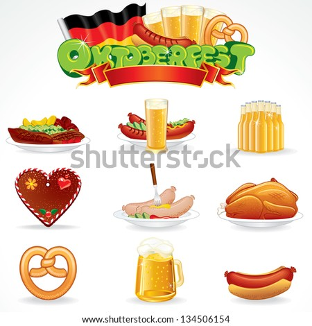 Oktoberfest Food and Drink Icons. Illustration of Various Beverages and Snacks. Vector Clip Art