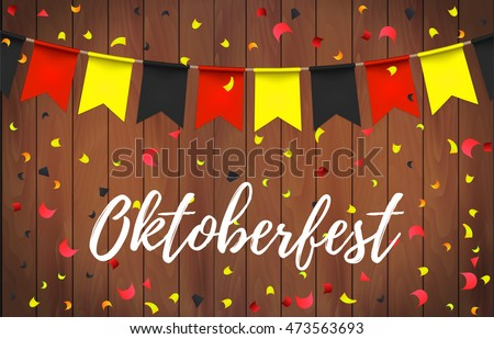 Oktoberfest garlands with german flag color pattern and lettering Oktoberfest with ribbon on a wooden background. Bavarian beer fest background celebrate with beautiful realistic garland. Vector