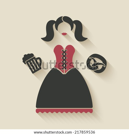 Oktoberfest girl with beer mug and pretzel - vector illustration. eps 10