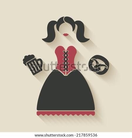Oktoberfest girl with beer mug and pretzel - vector illustration. eps 10