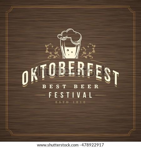 Oktoberfest Greeting card or Flyer on textured background. Beer festival celebration. Oktoberfest Badge or Logo Retro Vector illustration.